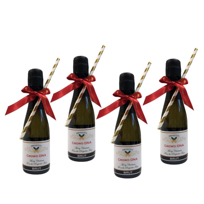 Christmas Mini Personalised Prosecco - 4 Miniature Bottles ...
