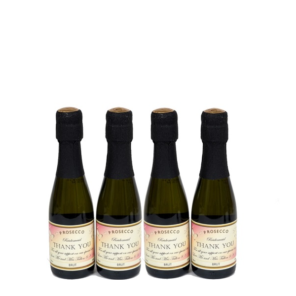 4 Bottles Of Miniature Personalised Prosecco
