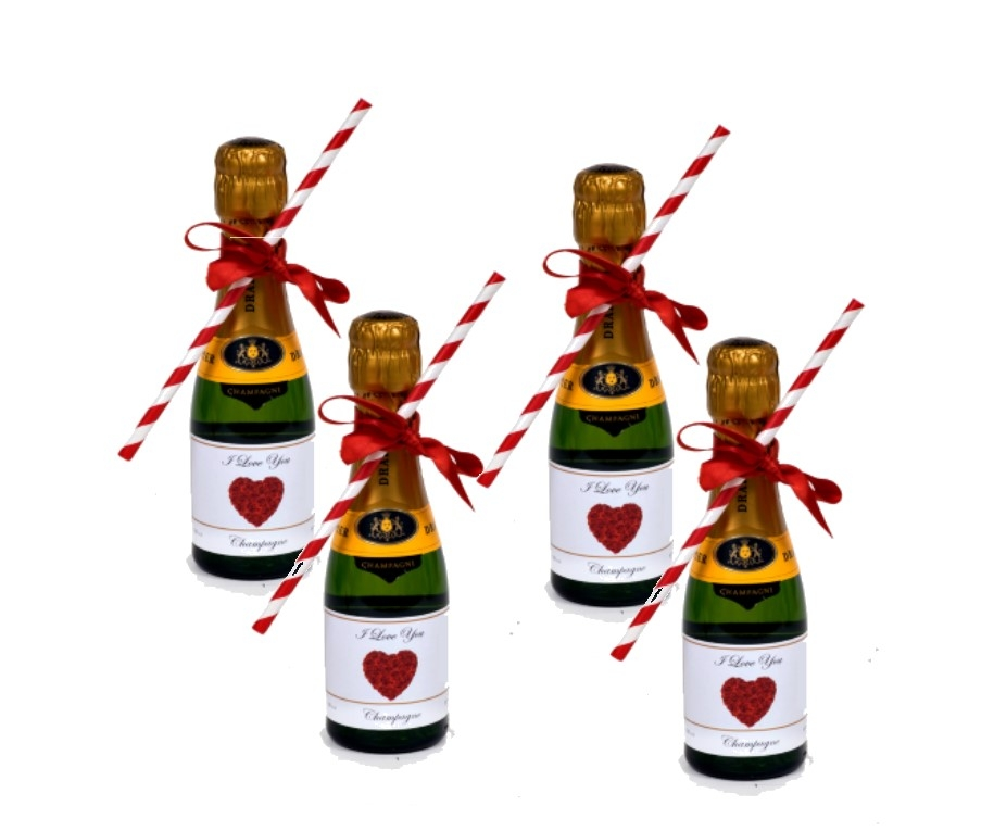 4 X  Miniature Bottles With Bows & Straws - Valentine's Day...