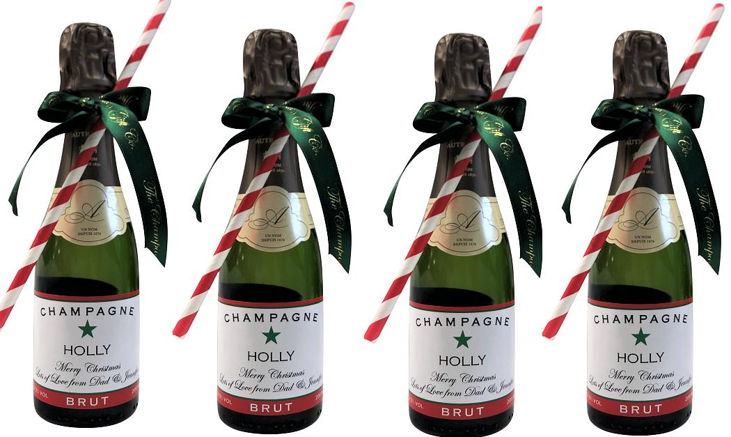 Christmas Mini Personalised Champagne - 4 Miniature Bottles...
