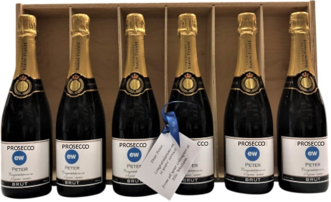 Branded Prosecco Gift With Personalised Gift Card - Classic Wooden...