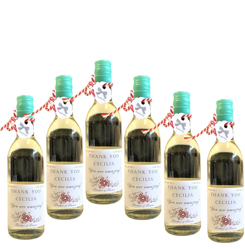 6 Miniature Bottles Of Personalised White Wine