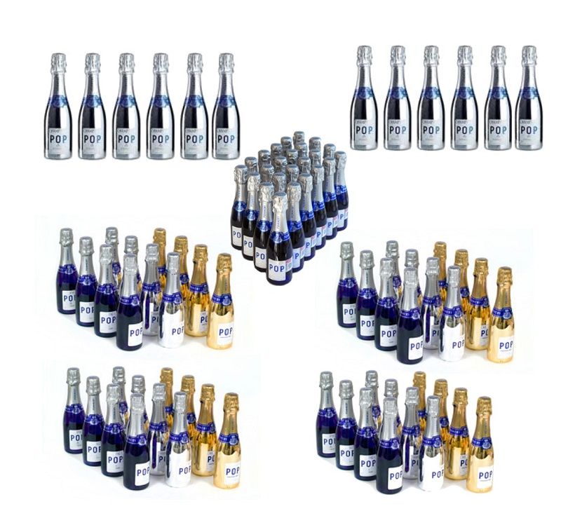 96 Bottles Of Assorted Pommery POP Mini Champagne - Personalised...