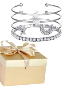 """Dainty"" Diamante Gem Stacking Bracelet Gift Set - Star, Moon,..."