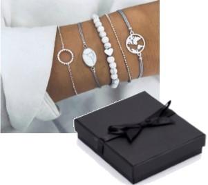 """Allora"" Beads Bracelet Set - Silver Colour"