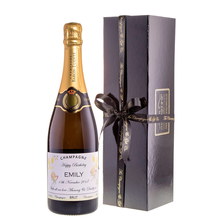 """Personalised Champagne In """"Classique"""" Black Presentation Box"""