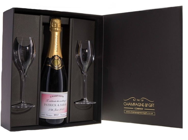 Personalised Champagne Gift Set With Signature Flutes