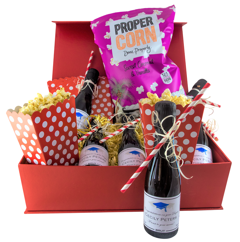 """Red """"Party Time"""" Popcorn Prosecco Gift Set"""