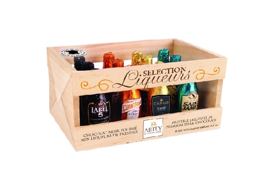 Luxury Chocolate Liqueurs In Wooden Crate