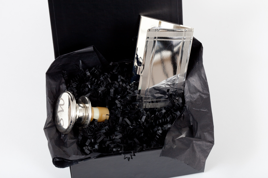 Corporate Gift Box With Silver Champagne Stopper And Business Card...