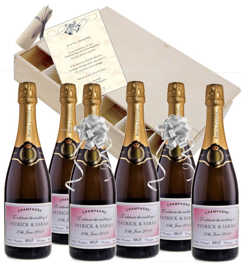 Personalised Prosecco Gift Case Of 6 Bottles - Wedding Gift With...