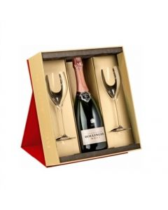 Bollinger Rosé Champagne with 2 Bollinger Flutes and Gift Box