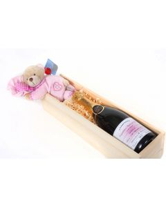 Personalised New Baby Champagne & Teddy  - Presented in Wooden Gift Box
