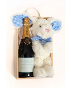 """""""It's a Boy"""" Personalised Champagne and Bunny Gift"""