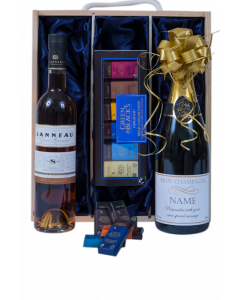 Personalised-bottle-of-Champagne-and-Armagnac-with-chocolates-in-gift-box