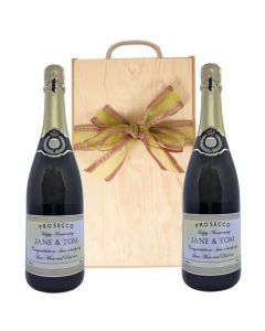 Duo of Personalised Wedding Prosecco in Wooden Box