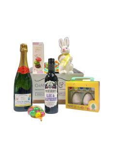 Easter-Personalised-champagne-Hamper-with-bunny-and-delightful-goodies