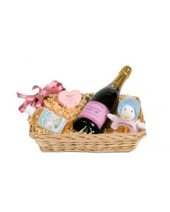 Champagne Bathtime Basket for Mother and Baby Girl