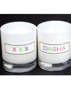 Duo of Personalised Scented White Glass Candles