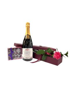 """Special Moments"" - Personalised Prosecco & Fresh  Pink Rose with Rose & Violet Creams"