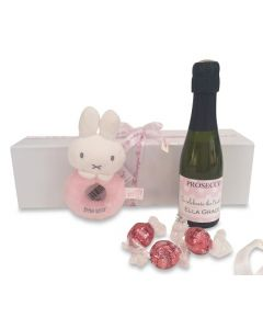 """""""Welcome New Baby Girl"""" Miniature Personalised Prosecco Gift  - With Baby Rattle and a few  Naughty Truffles"""