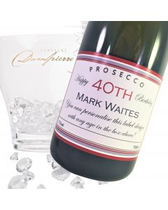 """Luxury Prosecco - """"Burgundy Birthday"""" Label For Any Age"""