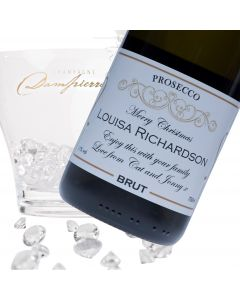 """Luxury Prosecco - """"Classic Gold Christmas"""" Label"""