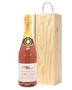 Non Alcoholic Pink Fizz in a Wooden Presentation Box