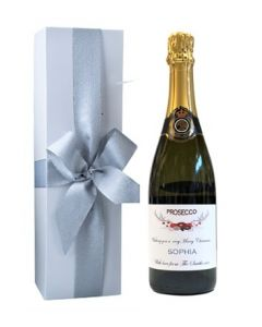 Personalised Christmas Prosecco in White Presentation Box