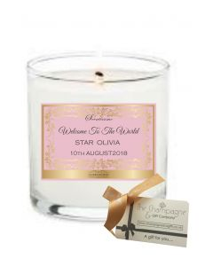 Welcome to the World Baby Girl - Luxury Scented Personalised Candle