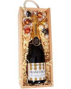 Bottle of Personalised Champagne with chocolates in wooden box