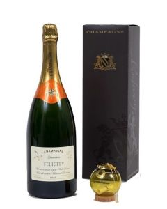 "Personalised Champagne Magnum150cl -  with ""Keep The Cork"" Congratulations Glass Bauble"