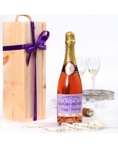Personalised Rosé Champagne in Wooden Presentation Box
