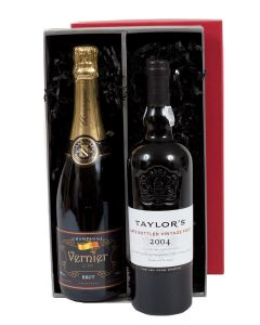 Duo of Corporate Branded Champagne and Late Bottled Vintage Port in Presentation Box