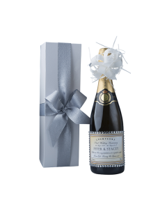Personalised Wedding Champagne with Crystal Gems in White Gift Box - Hint of Glitz