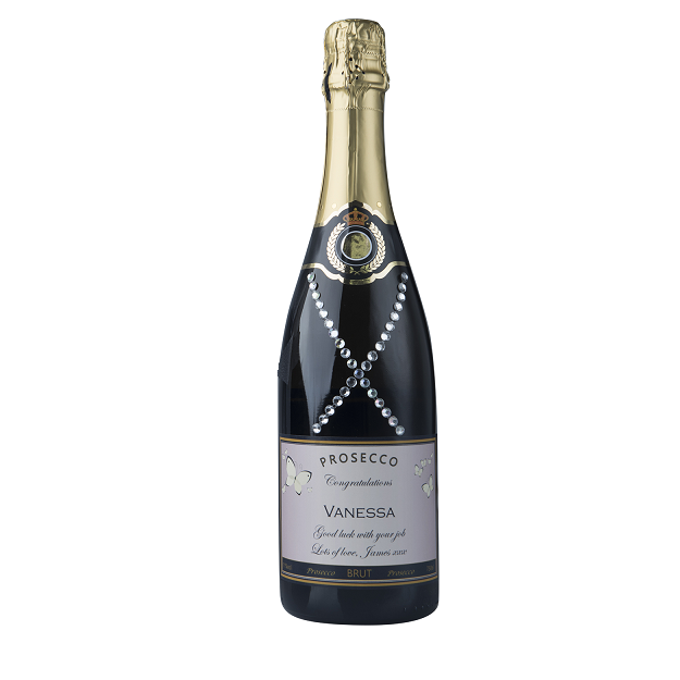 """Personalised Champagne With Crystal Gems - """"Dazzling"""""""