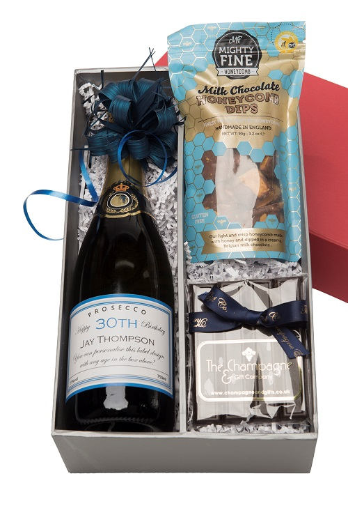 Personalised Champagne & Chocolate Selection In Red & Silver Box