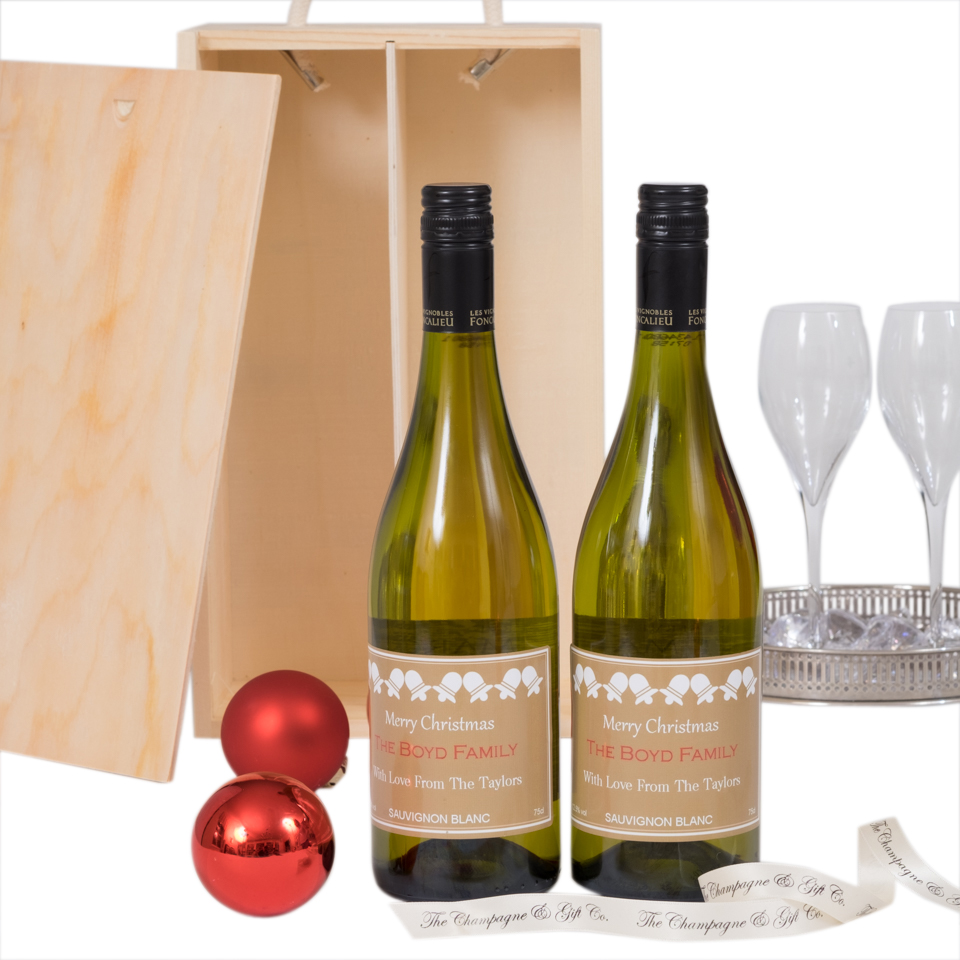 Duo Of White Christmas Personalised Wine  - Languedoc, South Of...