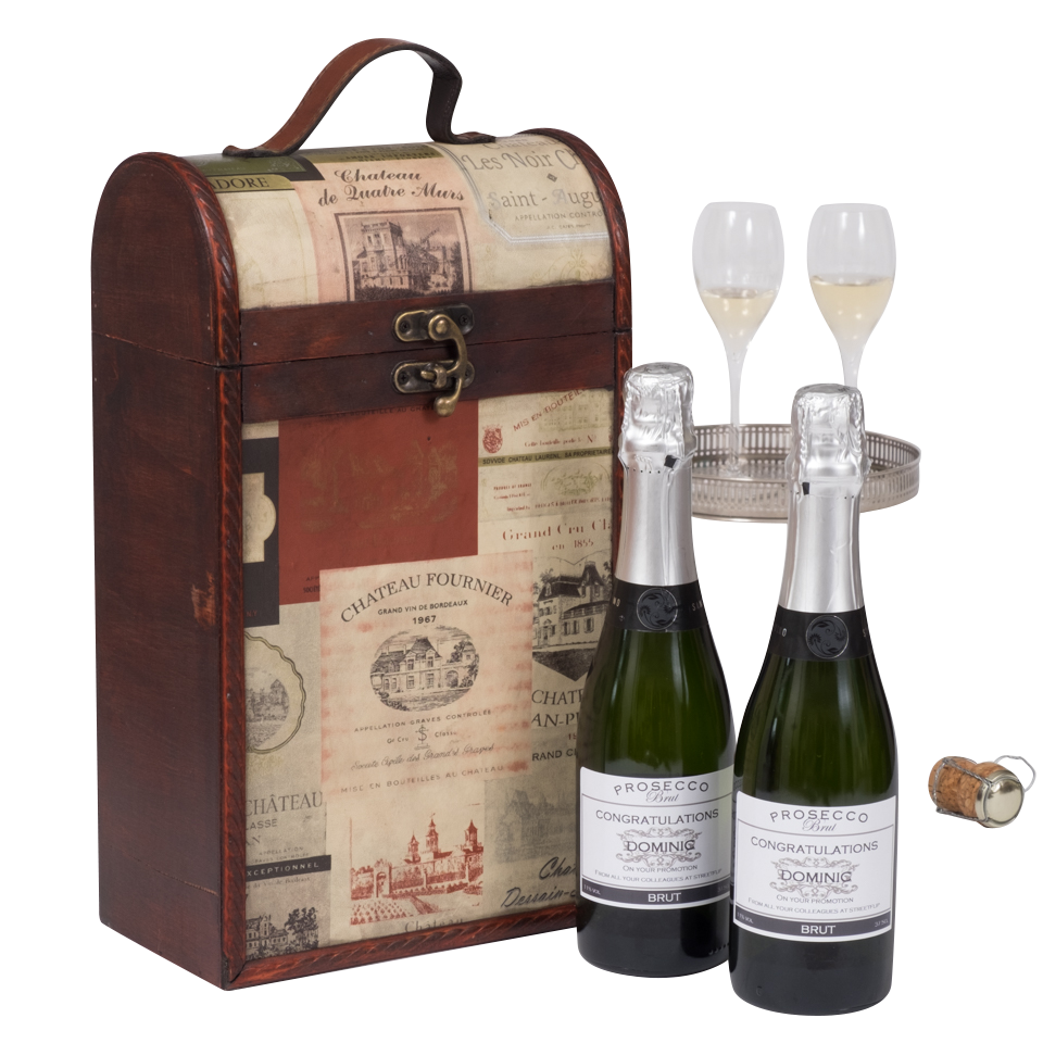 Duo Of Personalised Prosecco Half Bottles In Vintage Label Chest