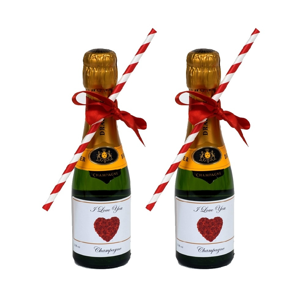 2 X Miniature Personalised Champagne - Complete With Hand-Tied Bow...