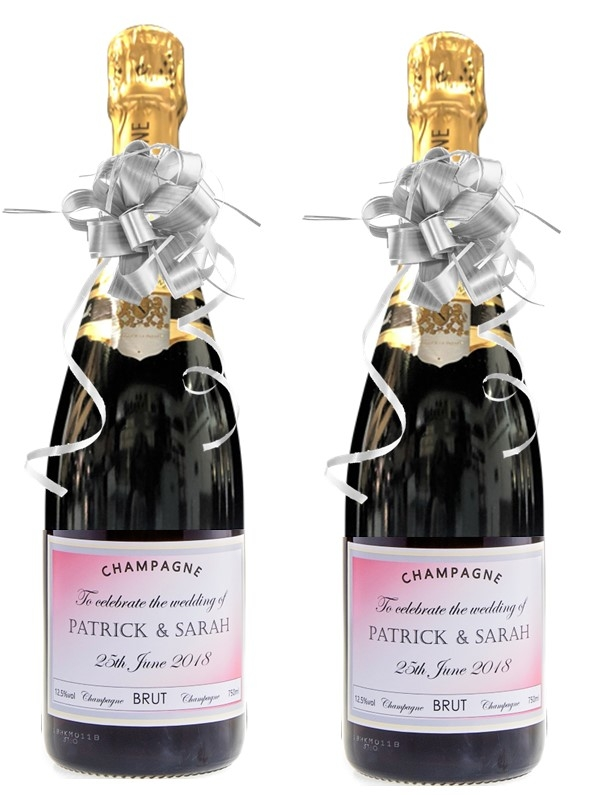 Duo Of Personalised Wedding Champagne Bottles