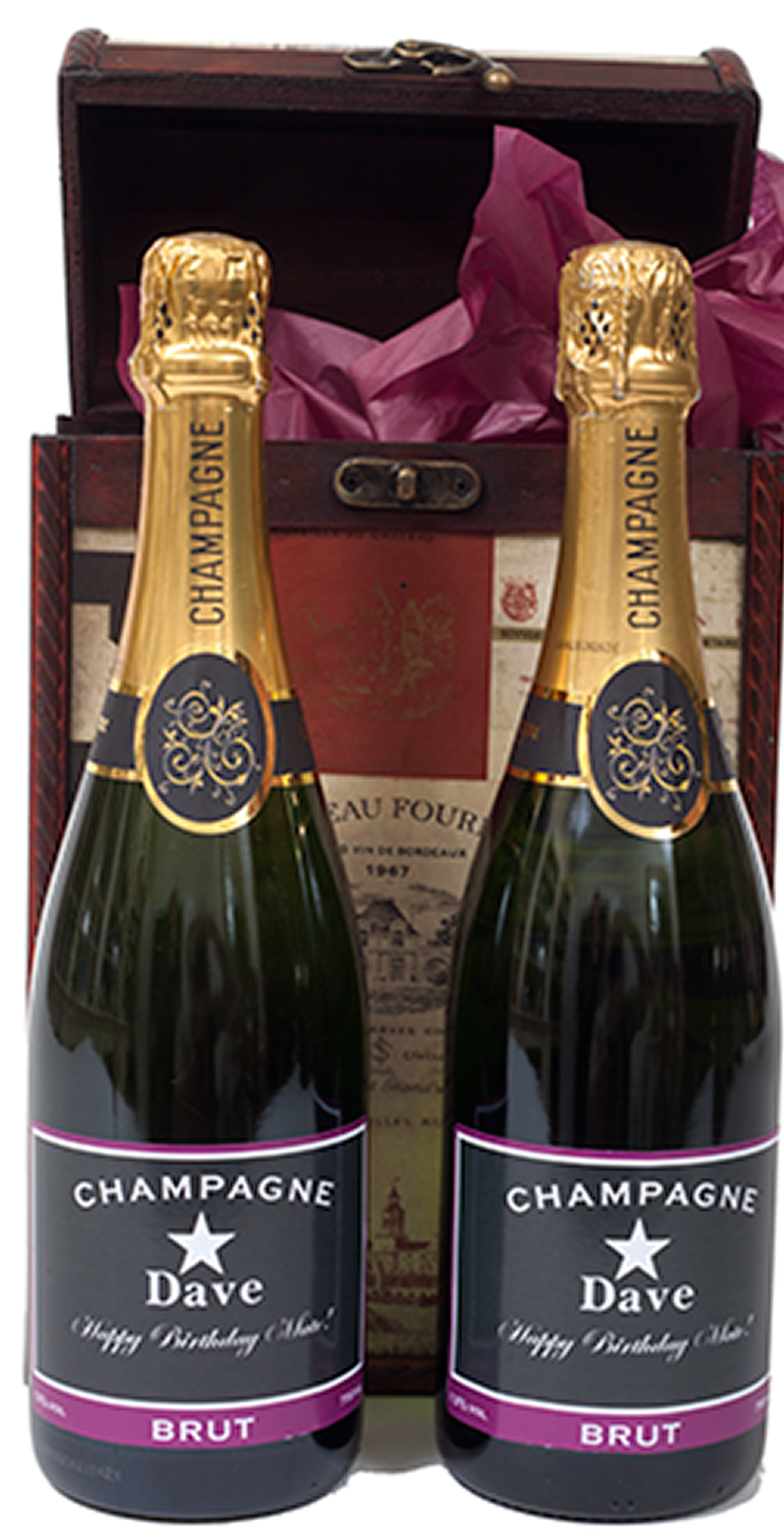 Duo Of Personalised Champagne In Vintage Label Chest