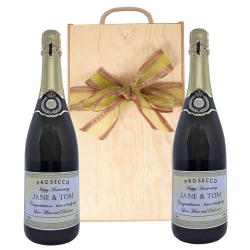 Duo Of Personalised Prosecco - In Classic Wooden Box With Rope Handle