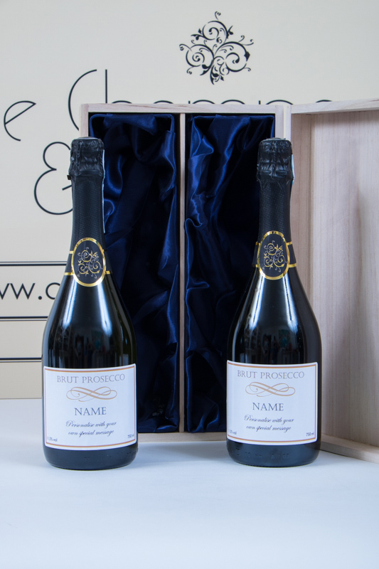 Duo Of Personalised Prosecco In Wooden Hinged Presentation Box