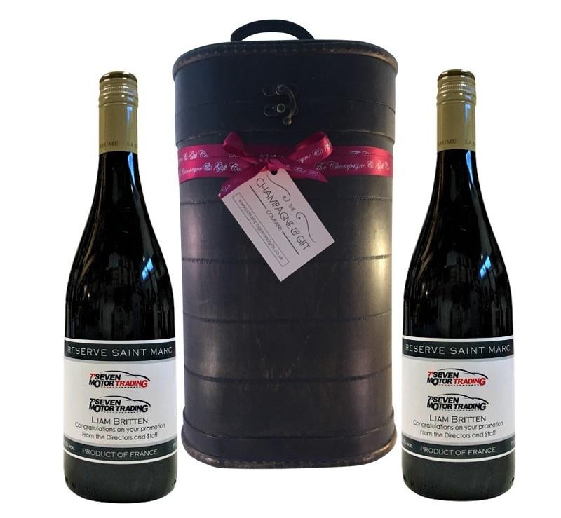 Logo Branded Red Wine In Vintage Presentation Case
