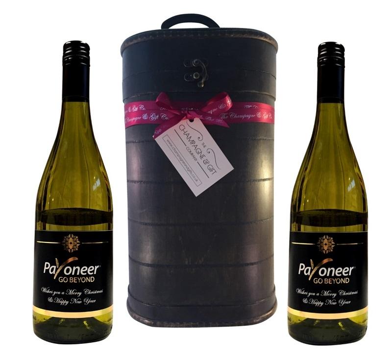 Logo Branded White Wine In Vintage Presentation Case
