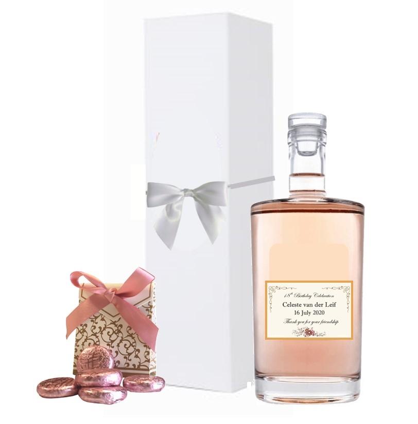 """""""Wine Dream"""" Cuvee Elle & Lui Rosé & Rose Cream Chocolate Gift Box"""