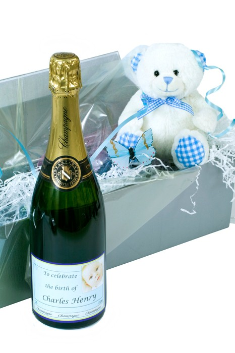 Champagne And Teddy In Presentation Box For Mother And Baby Boy