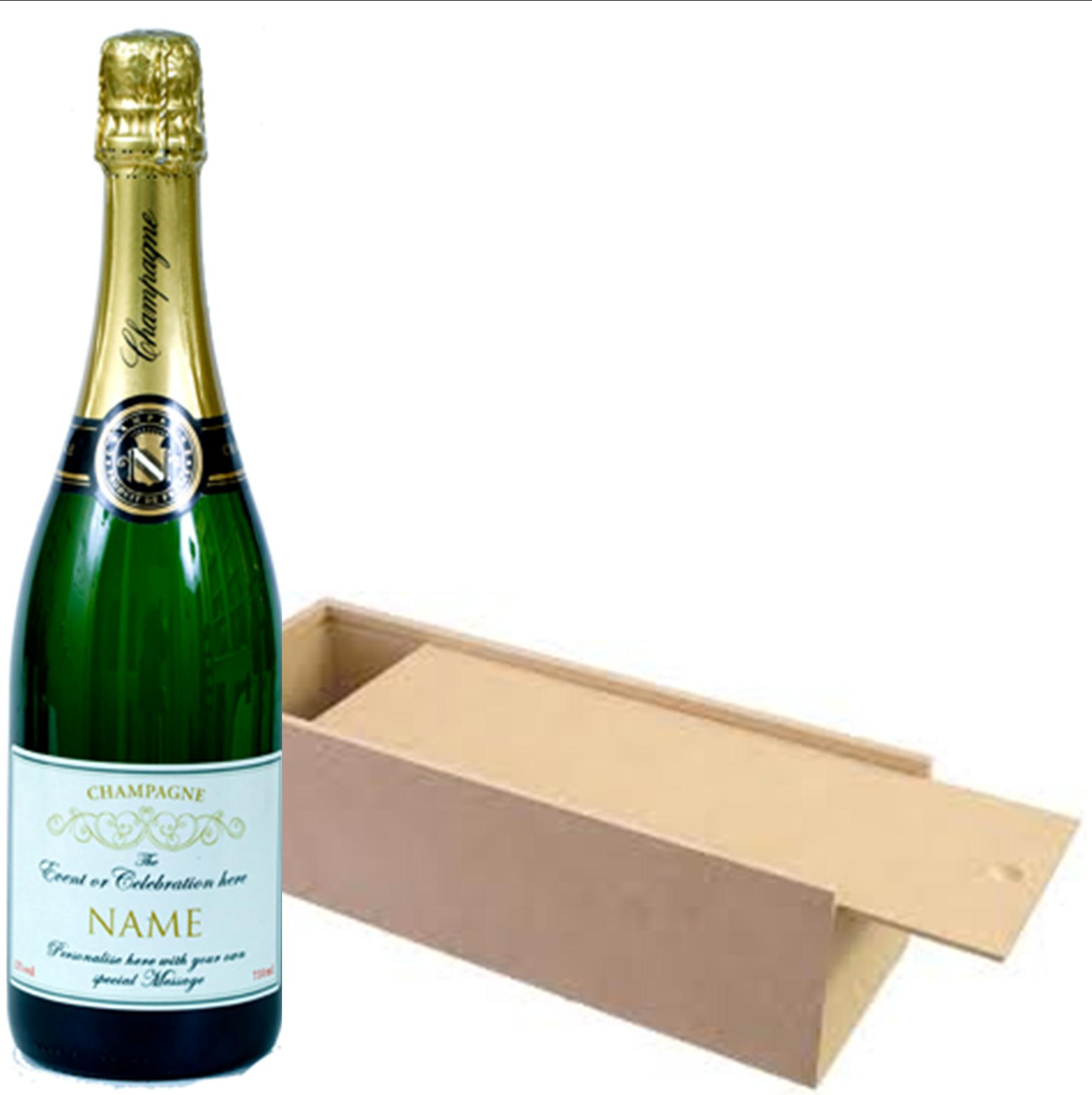 Personalised Wedding Champagne Magnum In Wooden Presentation Box