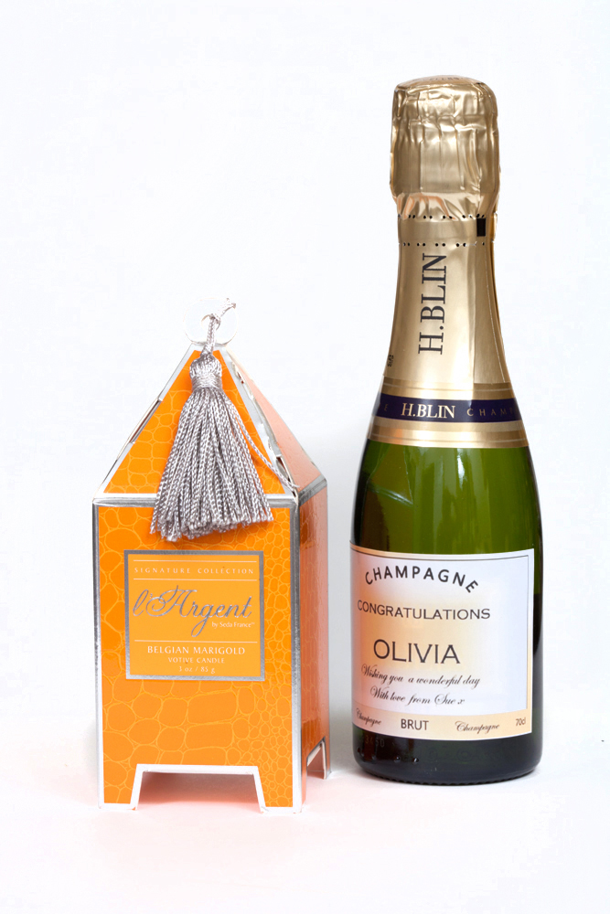 Miniature Personalised Champagne And Scented Candle In Silver Gift Box
